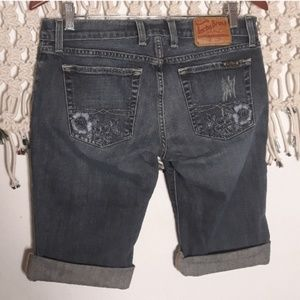 Lucky Brand embroidered bermuda jean shorts